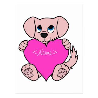 Cão cor-de-rosa do dia dos namorados com coração cartão postal