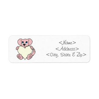 Cão cor-de-rosa do dia dos namorados com coração etiqueta endereço de retorno