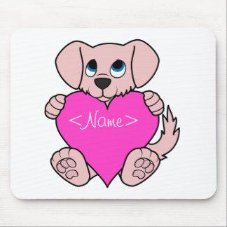 Cão cor-de-rosa do dia dos namorados com coração mouse pad