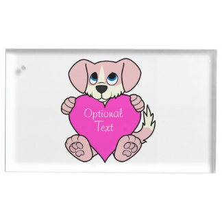 Cão cor-de-rosa do dia dos namorados com coração suporte para cartoes de mesa