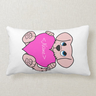 Cão cor-de-rosa do dia dos namorados com coração travesseiros