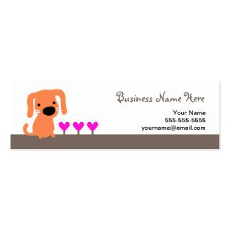 Cão & corações alaranjados cartão de visita skinny