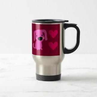 Cão & corações cor-de-rosa caneca