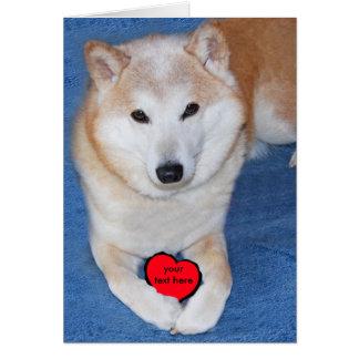 Cão customizável de Shiba Inu com coração vermelho Cartão De Nota