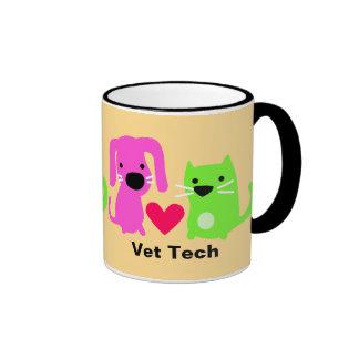 Cão da tecnologia do veterinário & gato & coração caneca com contorno