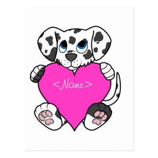 Cão Dalmatian do dia dos namorados com coração Cartão Postal