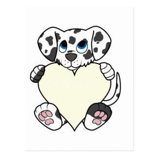 Cão Dalmatian do dia dos namorados com coração de Cartão Postal