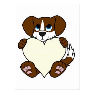 Cão de Brown do dia dos namorados com coração da Cartão Postal