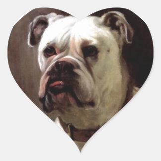 Cão de Bullie do coração do amor da expressão do b Adesivo De Coração