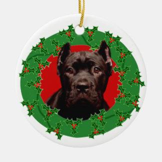 Cão de Corso do bastão do Natal Ornamento De Cerâmica Redondo