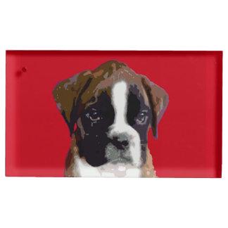 Cão de filhote de cachorro do pugilista suportes para cartao de mesa