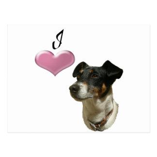Cão de Jack Russell do amor com coração 3D Cartão Postal
