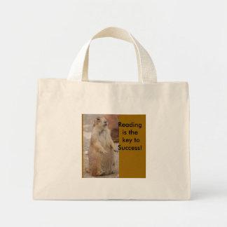 Cão de pradaria - saco de livro da leitura bolsa tote mini