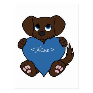 Cão do chocolate do dia dos namorados com coração cartão postal