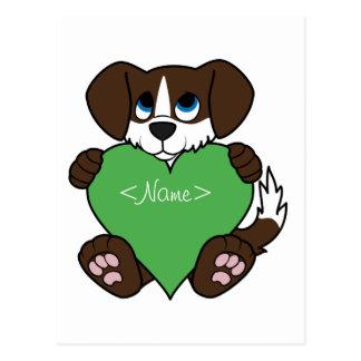Cão do chocolate dos namorados com chama & coração cartão postal