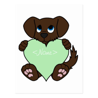 Cão do chocolate dos namorados com luz - coração cartão postal
