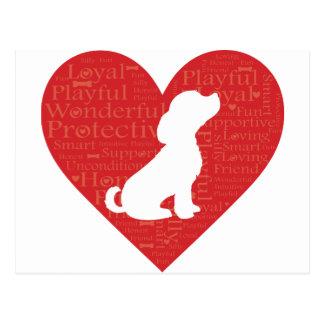Cão do coração da palavra cartão postal