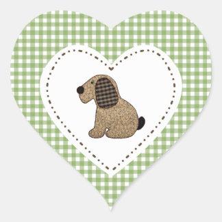 Cão do guingão do estilo country no coração adesivo coração