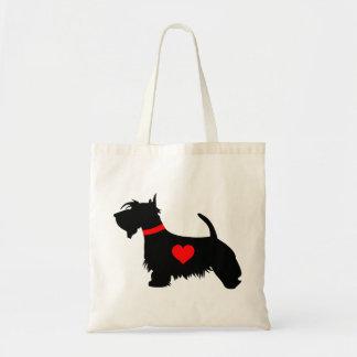 Cão do Scottie do amor com sacola do coração Sacola Tote Budget