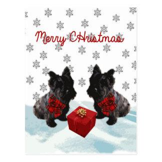 Cão e flocos de neve do Scottie do Feliz Natal Cartão Postal