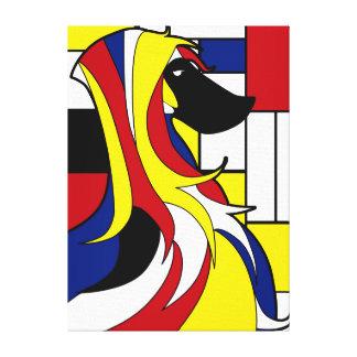 Cão geométrico colorido engraçado do vitral impressão em canvas
