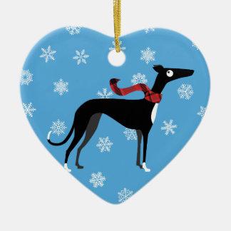 Cão nevado ornamento de cerâmica coração
