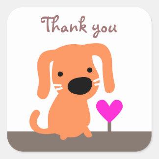 Cão & obrigado alaranjados do coração você adesivo em forma quadrada