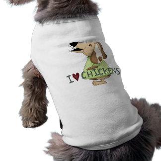 Cão parvo eu amo a roupa do animal de estimação do camisa sem mangas para cachorro