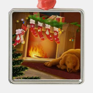 Cão pela lareira ornamento quadrado cor prata