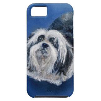 Cão pequeno brincalhão preto e branco capa para iPhone 5