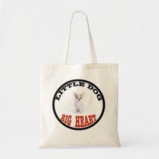 Cão pequeno da chihuahua - coração grande sacola tote budget