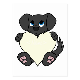 Cão preto do dia dos namorados com coração de cartão postal