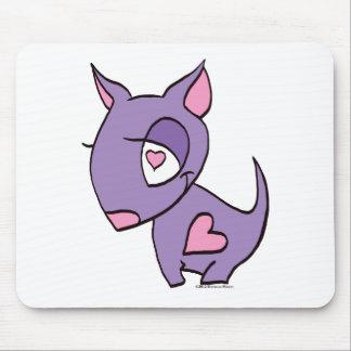 Cão roxo com coração mouse pad