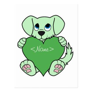 Cão verde do dia dos namorados com coração cartão postal