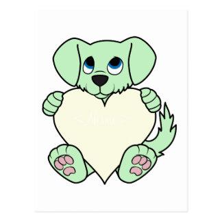 Cão verde do dia dos namorados com coração de cartão postal