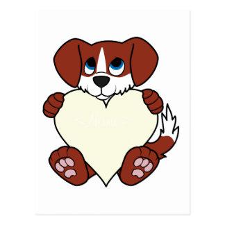 Cão vermelho do dia dos namorados com coração da cartão postal