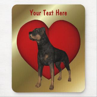 Cão vermelho Mousepad do coração de Rottweiler