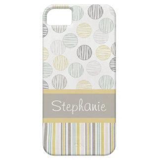 Capa Barely There Para iPhone 5 Círculos cinzentos e amarelos personalizados