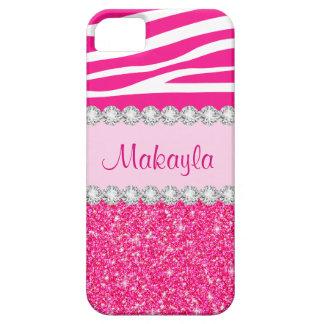 Capa Barely There Para iPhone 5 O brilho cor-de-rosa feito sob encomenda Sparkles