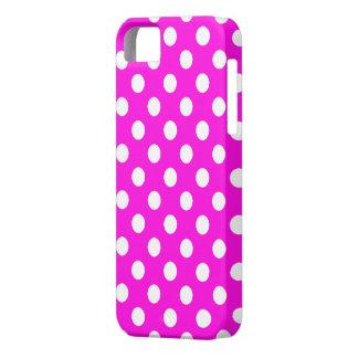 Capa Barely There Para iPhone 5 Rosa com a caixa branca do iPhone 5 das bolinhas