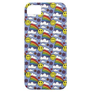 Capa Barely There Para iPhone 5 Smiley face do arco-íris e teste padrão do Hippie