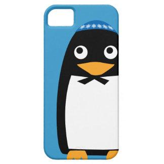 Capa Barely There Para iPhone 5 Yarmulke judaico feliz do pinguim de Hanukkah