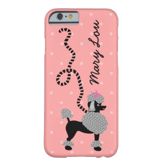 Capa Barely There Para iPhone 6 50 cor-de-rosa da saia da caniche e preto retro