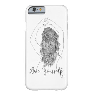"""Capa Barely There Para iPhone 6 """"Ame-se"""" - uma forma do coração do fazer da menina"""