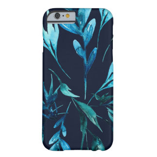 Capa Barely There Para iPhone 6 Floral chique elegante botânico da aguarela azul