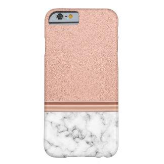 Capa Barely There Para iPhone 6 Folha de ouro cor-de-rosa no mármore
