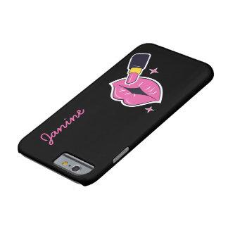 Capa Barely There Para iPhone 6 Lábios retros e batom do rosa do pop art