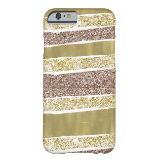 Capa Barely There Para iPhone 6 Listras abstratas do brilho do falso do ouro