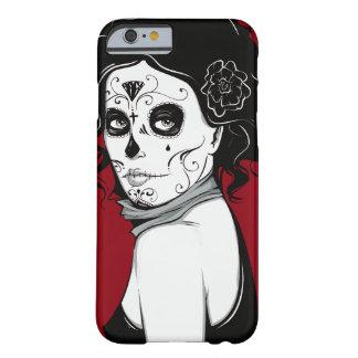 Capa Barely There Para iPhone 6 Menina do crânio do açúcar do vintage com rosas v7