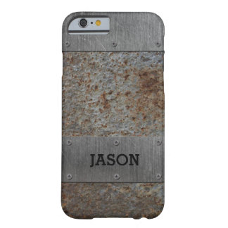 Capa Barely There Para iPhone 6 Metal do Grunge com seu nome